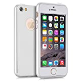 iPhone 5S Case, iPhone 5 Case, iPhone SE Case, NOKEA 360 Ultra Thin Full Body Coverage Protection Premium Matte Finish Dual Layer Hard Case Cover & Skin for Apple iPhone 5 5S SE (4.0-inch) (Silver)