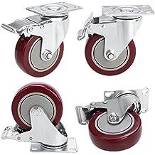 4'' Coocheer Heavy Duty Swivel Caster wheels Lockable Ball Bearing 1200lb Total Capacity