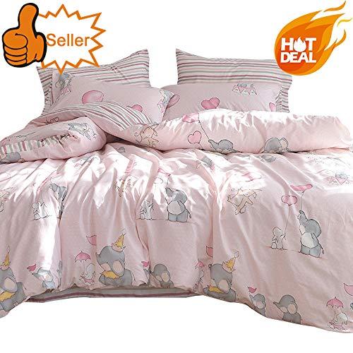 OTOB New Cartoon Animal Rabbit Elephant Print Pink Twin Duvet Cover Set for Girls 100% Cotton Reversible Soft 3 Pieces Kids Teen Bedding Duvet Cover Pillowcases Girls Twin Bedding Sets - One Kid Girls Sets