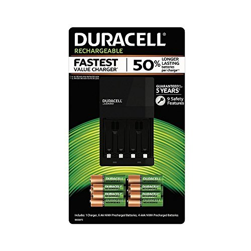- Duracell Battery Charger with Rechargeable AA (6 pk.) and AAA (4 pk.)
