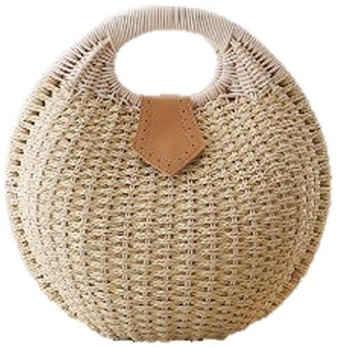 Simple Balloon Style Straw Hand Bag  Beige