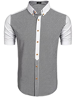 Mens Cotton Striped Short Sleeve Button Down Shirts Casual Dress Shirt