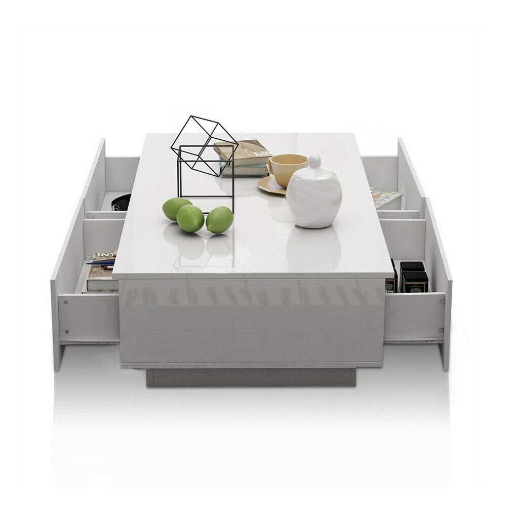 con 4 Cassetto,Lucido Bianco,95 x 60 x 31cm lyrlody Tavolino da caff/è,Tavolino da Salotto Moderno,Armadietto TV,per Salotto//Sala da Pranzo