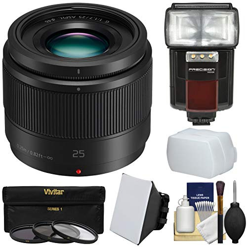 Panasonic Lumix G X 25mm f/1.7 ASPH Lens with Flash + Soft Box + Diffuser + 3 Filters + Kit for G6, G7, GF7, GH3, GH4, GM1, GM5, GX7, GX8 Camera