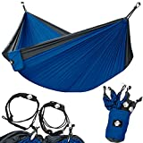 Legit Camping Double Hammock - Lightweight Parachute Portable Hammocks for Hiking, Travel, Backpacking, Beach, Yard Gear Includes Nylon Straps & Steel Carabiners (Charcoal/Royal)