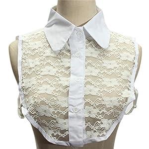 White Shirt False Collar for Women Chiffon Flower Lace Collar Bust Fake False Collars Necklace Jewelry