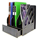 Menu Life A4 Magazine File Expander File Holder Paperwork Filling Box Organiser File Storage Box Wooden File Rack (Black)