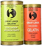 Great Lakes Gelatin, Kosher, 16-Ounce Cans of Unflavored & Collagen Hydrolysate by Great Lakes