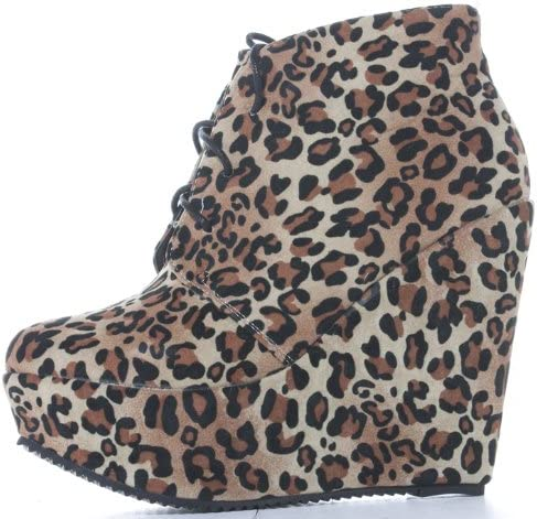 leopard wedge ankle boots