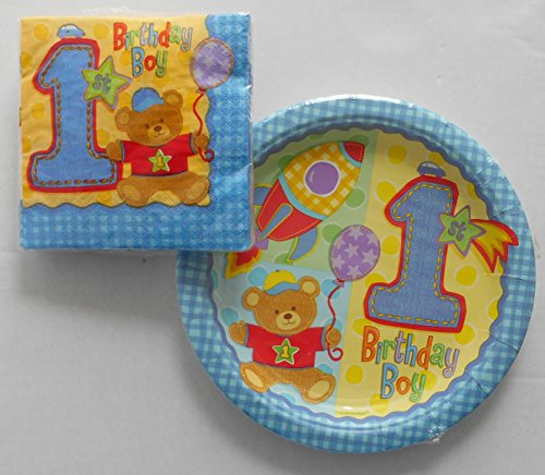 1st Birthday Boy - Hugs and Stitches Small Plates and Napkins (1st Birthday Boy Hugs)