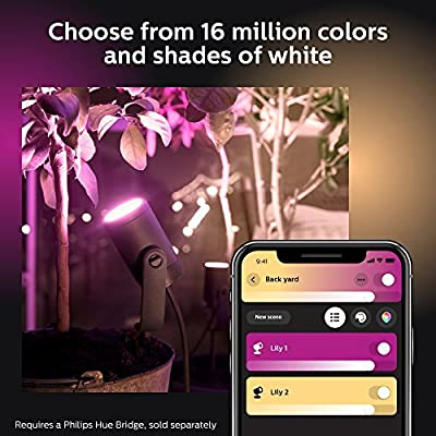 Philips Hue Lily White & Color Ambiance Outdoor Smart Spot Light Extension, Smart Spot Light Plus Mounting kit