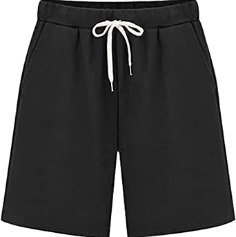 Gooket Women's Elastic Waist Soft Jersey Knit Bermuda Shorts with Drawstring
