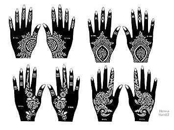 henna tattoo schablonen 8 stck set zur einmaligen verwendung fr hnde auch fr glitter tattoo und - Henna Tattoo Muster