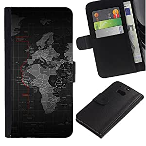 YiPhone /// Tirón de la caja Cartera de cuero con ranuras para tarjetas - Mapa del mundo - HTC One M8