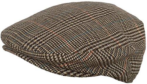 (Plaid Wool Blend Ivy Scally Cap (Brown/Large))