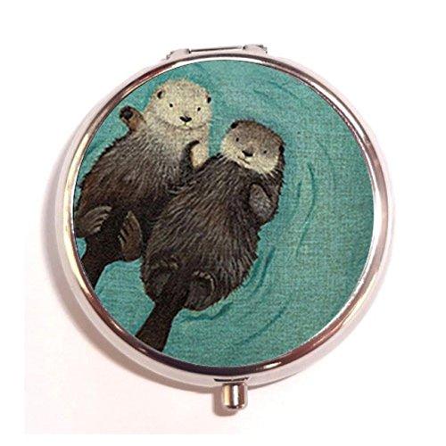 Katrina Personalized Two Lovely Sea Otter Pill Box Pill Holder Pill Case Medicine Holder Mint Tin Vitamin Holder Container Handmade (Handmade Tin)