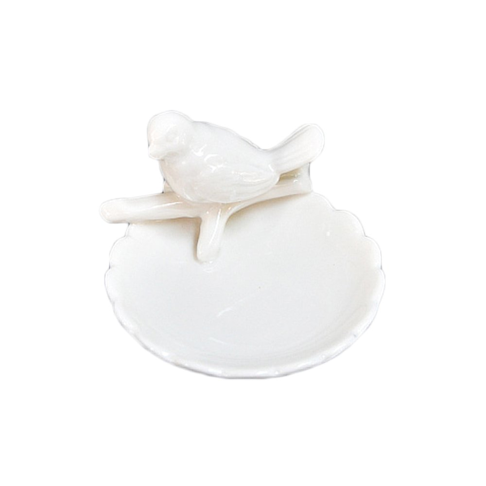 Colias Wing Home Decoration Desk Ornaments-Lovely Bird&Branch Stylish Design Ceramic Trinkets Tray Necklace Earrings Rings Stand Display Organizer Holder Jewelry Holder Decor Dish Plate-White