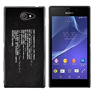 LECELL -- Funda protectora / Cubierta / Piel For Sony Xperia M2 -- Take Chances Live Life Regret Nothing --