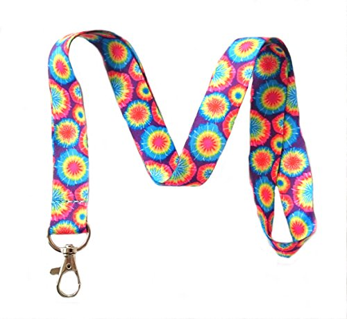 - Tie Dye Print Lanyard Key Chain Id Badge Holder