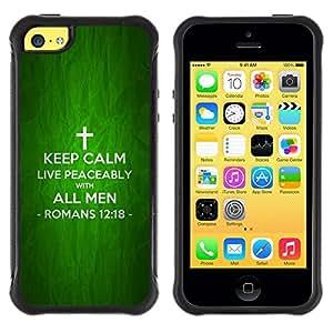 Suave TPU Caso Carcasa de Caucho Funda para Apple Iphone 5C / BIBLE Keep Calm And Live Peaceably - Romans 12:18 / STRONG