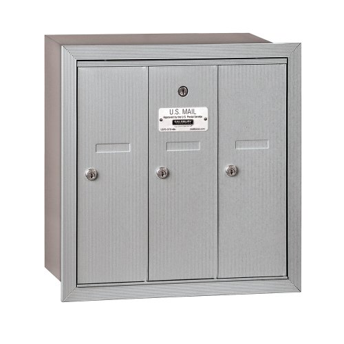 Salsbury Industries 3503ARU Recessed Mounted Vertical Mailbox with 3 Doors and USPS Access,  Aluminum Apartment Mailboxes