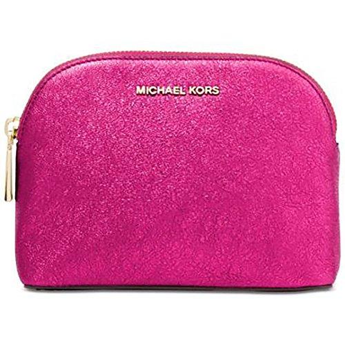 MICHAEL Michael Kors Womens Metallic Travel Cosmetic Case Pink O/S (Michael Kors Cosmetic Bag)