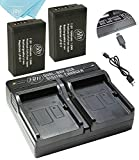 BM Premium Fully Decoded 2-Pack of LP-E17 Batteries and USB Dual Battery Charger for Canon EOS Rebel T6i, T6s, T7i, Rebel SL2, EOS 77D, EOS 750D, EOS 760D, EOS 8000D, KISS X8i Digital SLR Camera