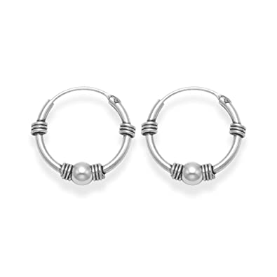 Sterling Silver SMALL Bali Hoop earrings, ball & twists - Size - Small: 9.5mm diameter. BEWARE 9mm is TINY & FIDDLY TO INSERT. 6200