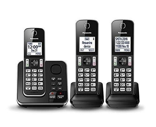 Panasonic KXTGD393B DECT 6.0 Expandable Digital Cordless Answering System 3-Handset