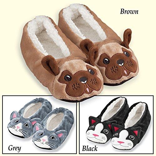 Fuzzy Animal Ballet Slippers Voor Dames Zwart