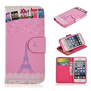 LZX Eiffel Tower Pattern PU Leather Full Body Case with stand and Card Slot Holder for iPhone 5/5S