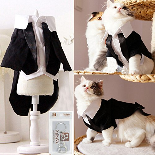 i'Pet Handsome Prince Cat Bridegroom Wedding Tuxedo Faux Twinset Design Small Boy Dog Formal Attire Doggy Party Wear Puppy Birthday Outfit Doggie Photo Apparel with Buttons Holiday Fabric Clothes Halloween Classics Collection Costume (Black Tuxedo, Small) -