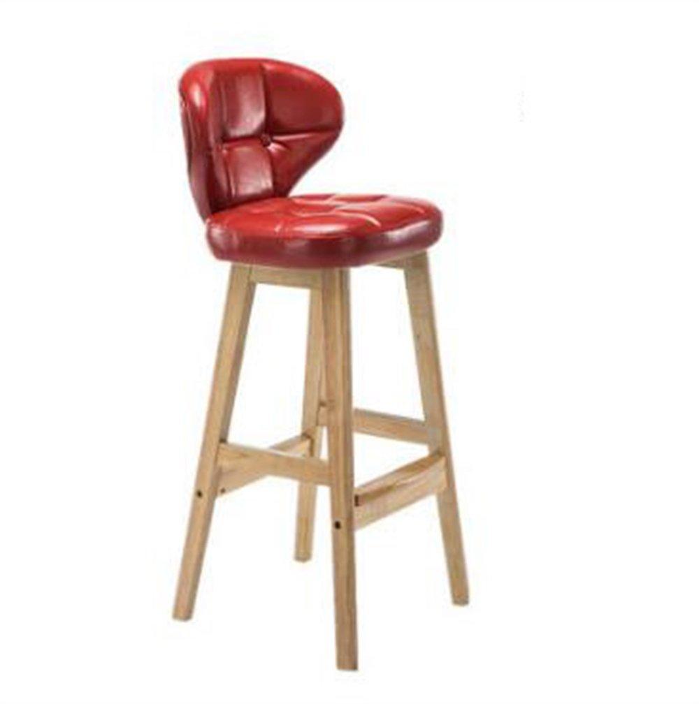 YJR-チェア モダンコンサイス ソリッドウッドシートハイスツールバーキッチンブレックファストダイニングチェア背もたれ椅子PUレザークッションレッド キッチンホーム&コマーシャル用 ( 色 : A ) B076MK3G46 A A