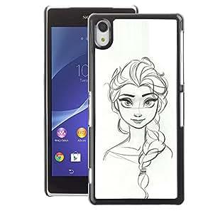 A-type Arte & diseño plástico duro Fundas Cover Cubre Hard Case Cover para Sony Xperia Z2 (Sketch Woman Drawing Scribble Girl)