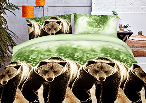 HIG Vivid 3D Bed Sheet Set Wild Life Animals, in Forest Big Bears Walking through Brook Print in Queen King Size - Wrinkle Free, Fade Resistant, Ultra Soft (King, BEAR-Y44)