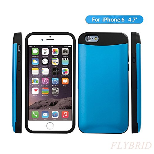 iPhone 6 Case,ID/Credit Card Holder Case[Shockproof][Scratch Resistant][Drop Resistant]Ultra Sleek Thin Dual Layer Impact TPU+PC Hybrid Hard Case with Discreet Credit Card / ID Slot for the iPhone 6(4.7inch)-Blue