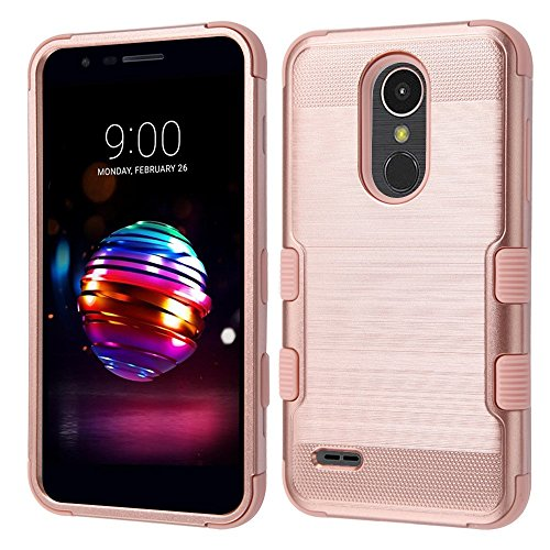 (TUFF Series LG Premier Pro Case, Military Grade Drop Tested [MIL-STD 810G-516.6] [Metallic Brush Finish] Impact Resistant Cover Case and Atom Cloth for LG Premier Pro 4G LTE L413DL - Rose Gold)