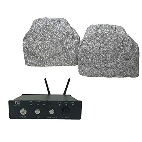 TIC TFS5-WG White Granite Rock Speakers with AMP50 100W Outdoor WiFi/Bluetooth Amplifier
