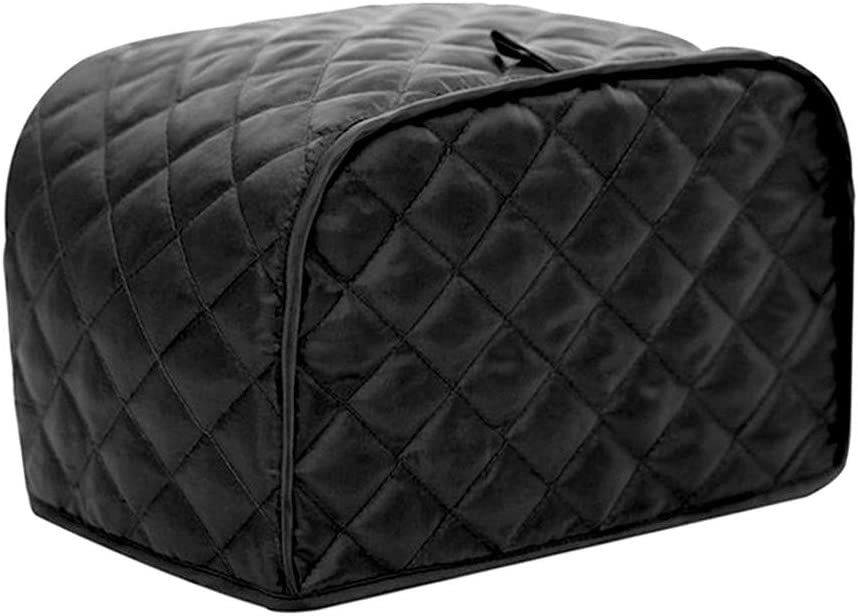 KINMAD Polyester Fabric Quilted Four Slice Bread Toaster Cover Bakeware Protector, Dust and Fingerprint Protection- Best Gift for Mother, Black