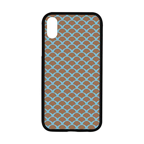 (Fish Rubber Phone Case,Squama Pattern with Intertwined Half Circles Aquatic Animal and Snake Scale Design Compatible with iPhone XR )