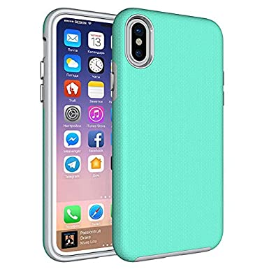 quality design 0a8bf 8e7d2 iPhone X Case KEENDOM, Hybrid PC + TPU, Silicone, Apple iPhone 10 Cover,  Shockproof (Tiffany Blue)