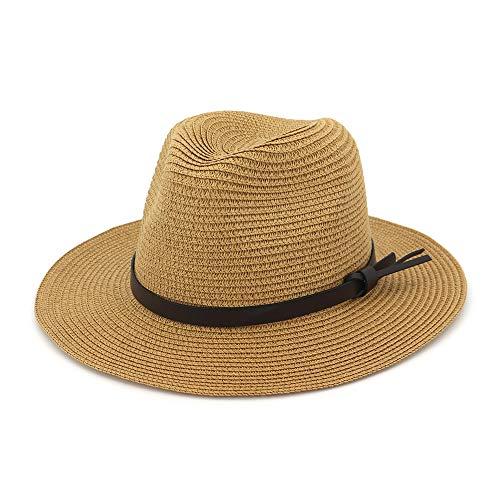 e1d9422fd57dc EINSKEY Womens Straw Hat Summer Wide Brim Sun Hat Packable Panama Fedora Hat