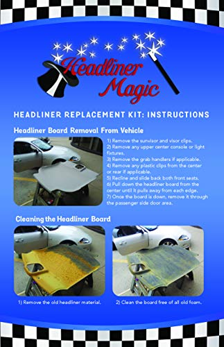 Black Auto Headliner for Jeep Cherokee 3/16'' Foam Backing Fabric Material 120'' X 60'' by Headliner Magic (Image #3)