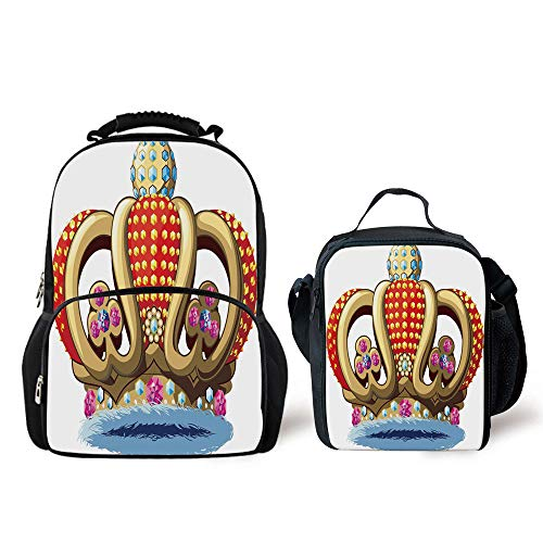 iPrint Schoolbags Lunch Bag,King,Royal Family Nobility Crown Colorful Ornaments Image Sovereign Print Decorative,Red Blue Golden,Personality Pattern