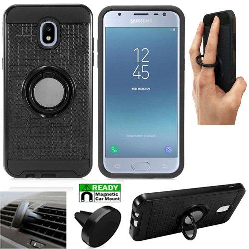 Phone Case for Samsung Galaxy J7-V-2nd-Gen.(Verizon), Galaxy J7-(2018), J7-Refine, Galaxy J7-Star, J737 Car Mount with Dual-Layered Cover Ring-Stand (Ring Stand Black-Black TPU/Magnetic Car Mount)