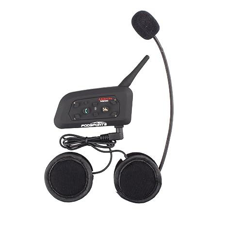 Fodsports Moto Motocicleta Casco Bluetooth BT V6 Intercom Interfono Headset Intercomunicador Auriculares Walkie-Talkie Equitación