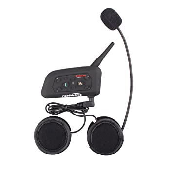Fodsports Moto Motocicleta Casco Bluetooth BT V6 Intercom Interfono Headset Intercomunicador Auriculares Walkie-Talkie Equitación