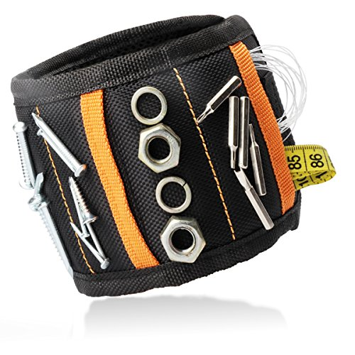 Magnetic Wristband,with Strong Magnets for Holding Nails,Screws,Drill Bits,Bolts,Pins,Scissors and Small Metal Tool,Unique Tool Gift for Father,Dad,Husband,Handyman and DIY (Black)