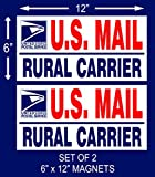 "2 U.S. Mail Delivery Magnetic Signs Rural Delivery Carrier Magnet 6""X12"""