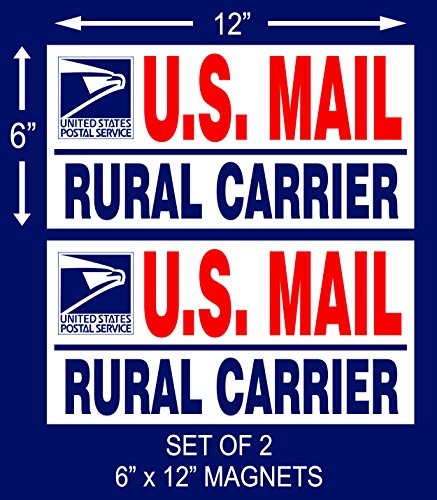 2 U.S. Mail Delivery Magnetic Signs Rural Delivery Carrier Magnet (Us Postal Jeep)